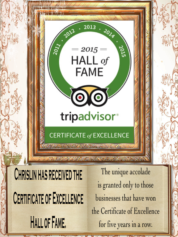 Certificate of excellence hall of fame
