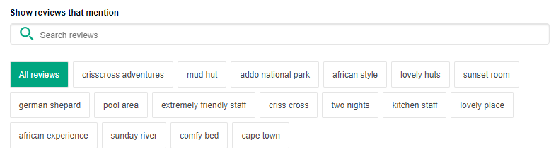 Top TripAdvisor Review Terms for Addo Accommodation