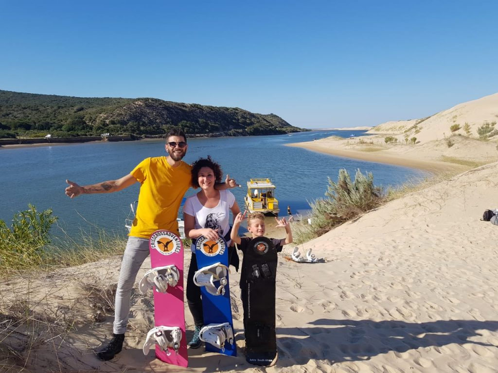 Sandboarding on Chrislin Family Safari Holiday